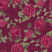 Vector Seamless Hand-drawn Pattern With Decorative Rose Flowers And Leaves. Colorful Floral Backgrou
