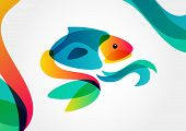 Abstract Tropical Fish On Colorful Background, Logo Design Template. Vector Illustration