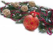 Christmas Decoration: Christmas Red Ball, Twig Of Fir And Beads