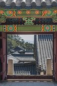 Korean Architecture, Door Entrance To The Temple