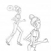 Hand Drawn Illustration - Running Woman. Morning Jog. Vector