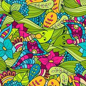 Hand-drawn Doodle Waves Floral Pattern, Abstract Green Leaves And Flowers. Vector Seamless Backgroun