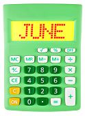 Calculator With June On Display Isolated