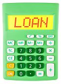 Calculator With Loan On Display Isolated On White