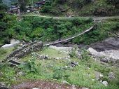 Suspension Bridge Over River In Rural Himalayas
