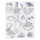 Paper Sheet With Ink Drawing Teatime Set