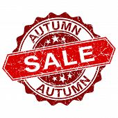 Vector Autumn Sale Red Vintage Stamp Isolated On White Background