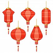 Set of various abstract red Chinese lanterns.
