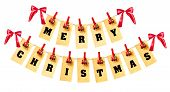 image of pegging  - Merry Christmas lettering with clothes - JPG