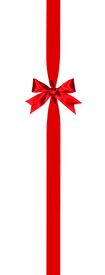 stock photo of bowing  - Long vertical red gift ribbon border with bow isolated on white - JPG