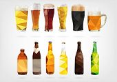 image of drawing beer  - vector illustration in form of Beer Bottles and Glasses design - JPG