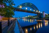 picture of tyne  - Newcastle, UK - 1 September 2009: Tyne Bridge, photographed during the blue hour - JPG