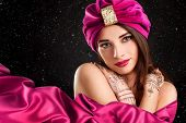 picture of turban  - beautiful woman in oriental style in turban - JPG