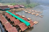 image of raft  - The Restaurant Bamboo Raft on River on Pai River at Maehongson provinceThailand - JPG