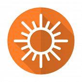 stock photo of barometer  - sun orange flat icon waether forecast sign  - JPG