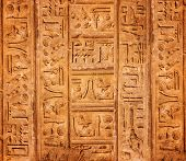 foto of hieroglyph  - old egypt hieroglyphs with place for text - JPG