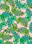 stock photo of brocade  - seamless tropical palm pattern - JPG