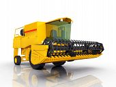 image of combine  - Computer generated 3D illustration with a combine harvester against a white background - JPG