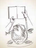 stock photo of sketch book  - Sketch of man holding book - JPG