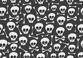stock photo of pattern  - vector seamless pattern with skulls and bones on black background - JPG