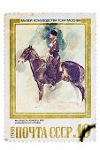picture of breed horse  - USSR- CIRCA 1988 a stamp printed by the USSR shows a painting by the artist Vrubel The escort Horse of Kabardian Breed circa 1988