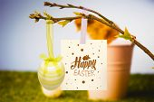 pic of stuffed animals  - happy easter graphic against stuffed chick in pink bucket - JPG
