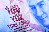 stock photo of turkish lira  - Turkish Currency A close up of a 100 Lira Note.