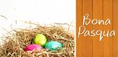 stock photo of pasqua  - Bona pasqua against wooden planks - JPG