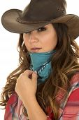 picture of cowgirls  - A woman cowgirl with her hand on her bandana ready to cover her face - JPG