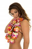 picture of hula dancer  - A Hawaiian woman in her coconut bra looking to the side - JPG