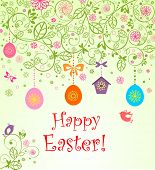 stock photo of bird egg  - Easter card with hanging eggs - JPG