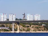 picture of pontoon boat  - View of the city of Volgograd from the opposite river bank Volga - JPG