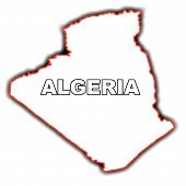 picture of algeria  - Outline map of the Arab League country of Algeria - JPG