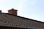 picture of gable-roof  - The roof of the house and the sky - JPG