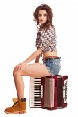 stock photo of accordion  - Pretty young sexy woman with accordion - JPG