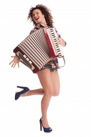 image of accordion  - Pretty young sexy woman with accordion - JPG