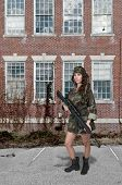 picture of rifle  - Beautiful young woman soldier with a M16 rifle - JPG