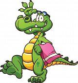 foto of goggles  - Cartoon crocodile with towel and goggles - JPG