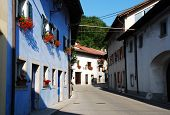 pic of west village  - Residential buildings in the north west Slovenian village of Kobarid in the Littoral region - JPG