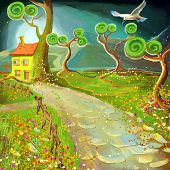 picture of fantastic  - fantastic cartoon little house illustration near a green tree - JPG