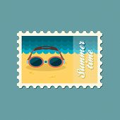 image of goggles  - Swimming Goggles flat stamp vector illustration eps 10 - JPG