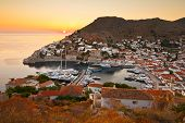 image of hydra  - View of port of Hydra from a hill above the town - JPG
