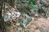 foto of dam  - The ruined small dam which made from sand bag after rainy season in the forest at Karnchanaburi Thailand - JPG