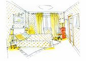 picture of master bedroom  - master bedroom for two colorful detailed sketch - JPG