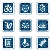 Medicine Web Icons  Navy Square Buttons