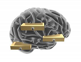 picture of thinking outside box  - 3d brain and drawers thinking outside the box creative idea illustration - JPG