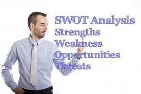 picture of swot analysis  - SWOT Analysis Young businessman with small beard touching text - JPG