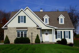 foto of cape-cod  - new cape cod style home with nice yard at home. ** Note: Slight graininess, best at smaller sizes - JPG
