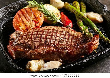 Beef Steak - BBQ Strip Steak (Grilled Beef Strip Loin Steak) with Roast Vegetables and White Sauce