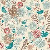 Retro spring floral seamless pattern with birds